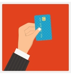 Hand hold credit card vector image