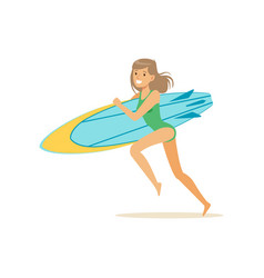 Happy girl running on the beach with surfboard vector