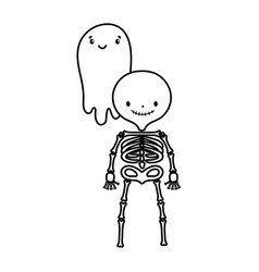 happy halloween celebration skeleton and ghost vector image