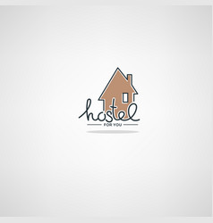 Hostel for you logo template in doodle style vector