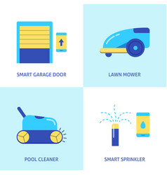 house and garden automation icon set in flat style vector image