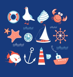 icons to marine theme vector image