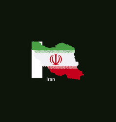 iran initial letter country with map and flag vector image