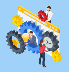isometric business process business team connect vector image
