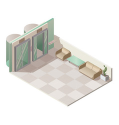 Isometric elevator hall interior vector