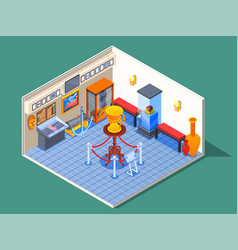 isometric museum hall composition vector image