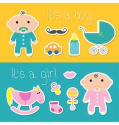 its a boy girl banner set bashower card vector image
