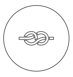 knot black icon outline in circle image vector image