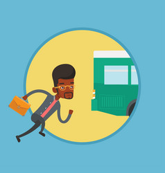 latecomer man running for the bus vector image