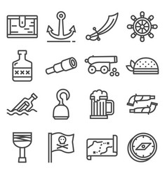 line pirates icons set on white background vector image