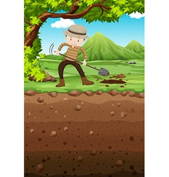 Man digging hole in the park vector