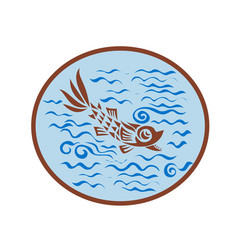 Medieval fish swimming oval retro vector