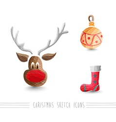 Merry Christmas sketch style reindeer elements set vector