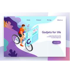 Modern gadget for fitness isometric website vector