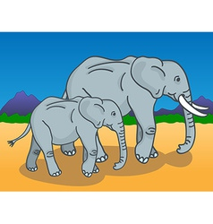 Mother and baby elephant vector image