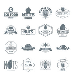 Nuts seeds logo icons set simple style vector