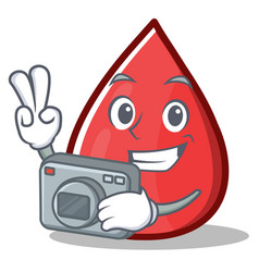 Photography blood drop cartoon mascot character vector