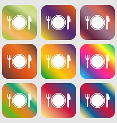 Plate icon sign Nine buttons with bright gradients vector