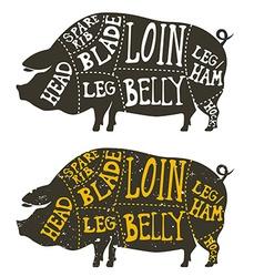 Pork meat cuts vector
