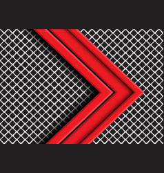 red arrow direction overlap on grey metal mesh vector image