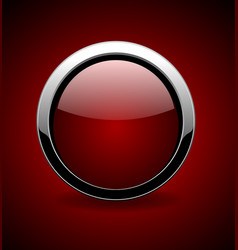 red button chrome metallic vector image
