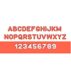 red of font and alphabet vector image