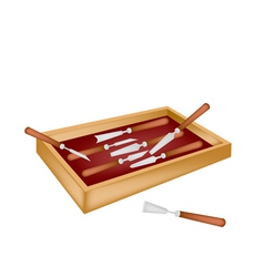 Set of Carving Tools in A Box vector