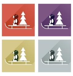 Set of flat icons with long shadow sled bear vector
