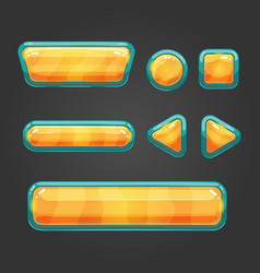 Set orange button in cartoon style vector