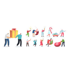 Set people prepare for new year and christmas vector