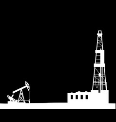 silhouette of drilling rig and pump vector image