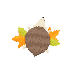 small cute hedgehog with closed eyes lies on the vector image