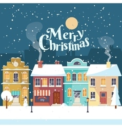 Snowy Merry Christmas night in the cozy town vector