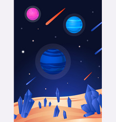 space landscape poster - colorful view from sand vector image