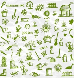 Spring Garden tools sketch for your design vector image