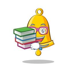 Student with book school bell character cartoon vector