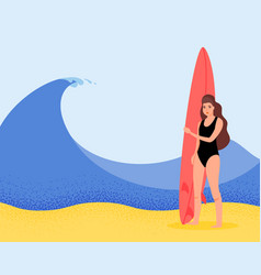 surfer girl on wave in flat style cartoon vector image