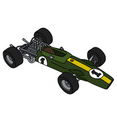 The retro green and yellow racecar vector