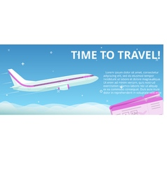 Time to travel flat plane flies in the night sky vector