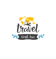 travel world tour icon hand drawn lettering vector image