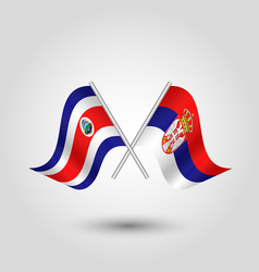 Two crossed rican and serbian flags vector