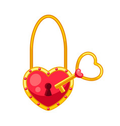 valentines day heart shaped lock with key vector image
