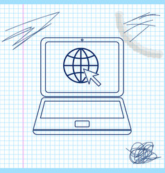 website on laptop screen line sketch icon isolated vector image