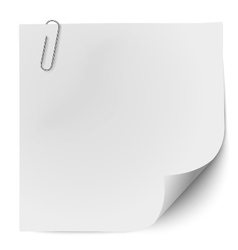 White note paper with metallic clip vector