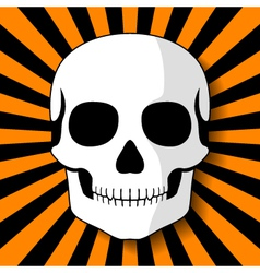 White skull on black orange beams vector image