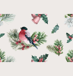 Winter bloom pattern design with bird taxus vector