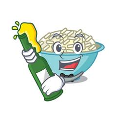 with beer rice bowl mascot cartoon vector image