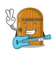 with guitar large wooden door with cartoon handle vector image