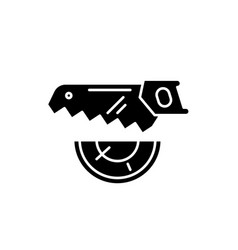 wood saw black icon sign on isolated vector image