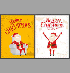 xmas postcards santa claus sitting on armchair vector image